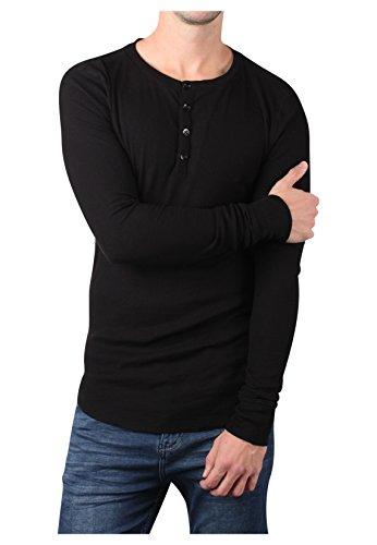 Eight2Nine Herren Basic Feinripp Longsleeve | Elegantes Langarmshirt Regular Fit Black