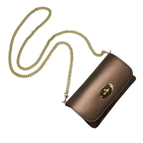 das perfekte Geschenk für sie BRENDA Kleine Umhängetasche mit blassgoldener Kette und rundem Verschluss, Abendtasche Handtasche mit Glattleder-Kette Bronze
