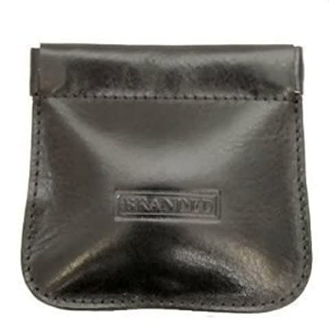 Quality Leather Snap top Stitched Purse (Black)