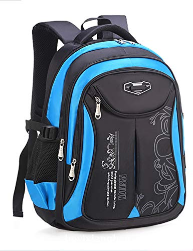 DULEE Mädchen Jungen Wasserdichte Schultasche Rucksack Reisetaschen Buch Tasche 6-12 Jahre alt (Schwarz/Groß)