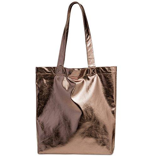 CASPAR TS1047 Damen metallic Shopper / Schultertasche, Farbe:bronze;Größe:One Size