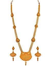 JFL - Traditional Ethnic One Gram Gold Plated Designer Long Necklace Set With Earring For Women And Girls. - B077XGRZNS