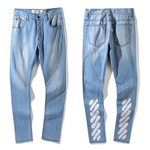 OFF BLACK (AUS SCHWARZ) White Old Style Washed Splash Oblique Stripes Jeans Männer und Frauen Casual Hosen -