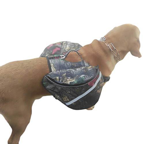 Yijinstyle Hunde Rucksack Verstellbar Pack Satteltasche Travel Outdoor Hund Doppeltasche für Wandern Camping Reise (Camo, Asia L)