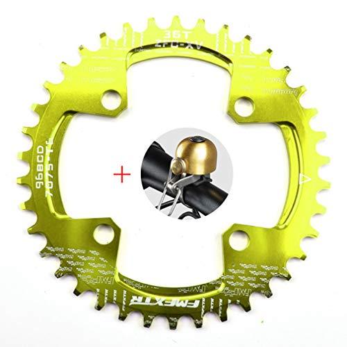 DUBAOBAO AM/XC Fahrrad 96BCD runde Einzelplatte, 32T / 34T / 36T / 38T Mountainbike Fahrradplatte Scheibe und Kurbel Furnier, grün,96bcdoval36T -