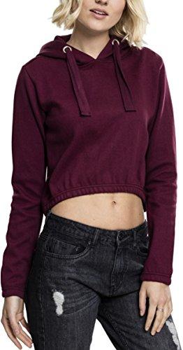 Urban Classics Damen Ladies Interlock Short Hoody Kapuzenpullover, Cherry, S