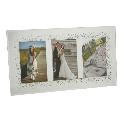 Wedding Mirror Glass Frame Starburst Crystals Design For Triple 4x6 Pictures by Juliana