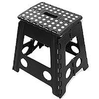 B4E Large step stool Portable Fold Up Footstool for Kitchen, Bathroom, Toilet, Caravan | for Children, Kids, Adult | Collapsible, Non Slip - Large - Black