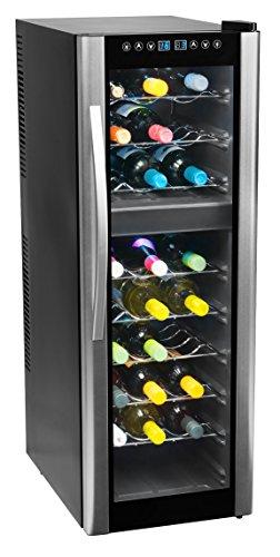 MEDION MD 37117 Weinkühlschrank Freistehend  C  27 Flaschen  zwei Temperaturzonen  elektrische Temperatursteuerung silber, schwarz