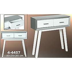 Mesa de entrada - Recibidor con 2 cajones de madera en color blanco y plata blanco y plata
