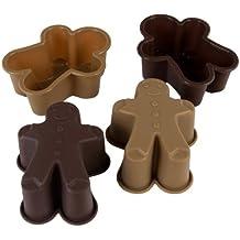 PINFI 81150 - Pack de 4 mini moldes de silicona, diseño Gingerman, color chocolate y moka