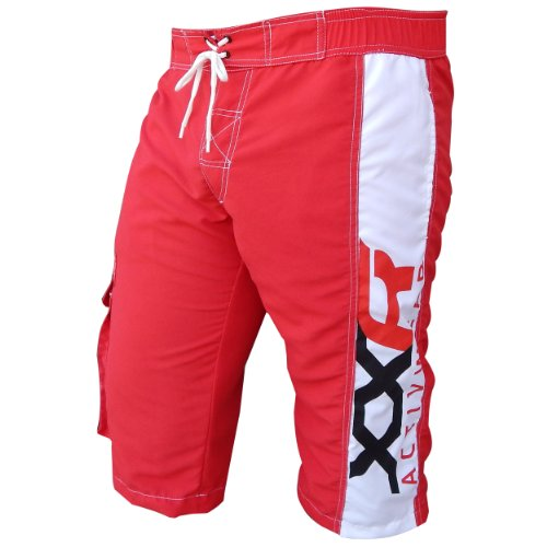 XXR Dri-Board Shorts Swim Shorts Casual Clothing Beach Summer Swim Surf Trunk Spring Pocket Micro Shorts Home Swim Sports Wear (Red, Large ( 34-36