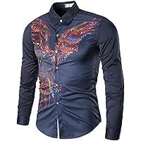 TWBB Herren Adler Printing CardiganShirt Fit Pullover Langarmshirt Longsleeve Sweatshirt Polo Shirt Casual Oberteile