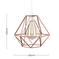 Pair of - Retro Style Copper Metal Basket Cage Ceiling Pendant Light Shades from MiniSun