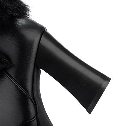 Bottes Haut Zip Cuir Pu VogueZone009 Femme Rond à Noir Talon Bn484q