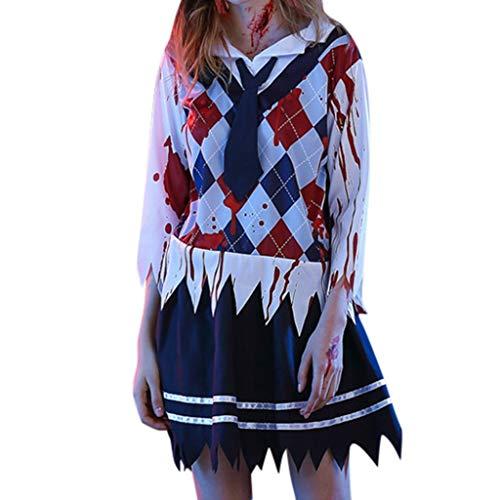 Geist Kostüm Halloween Harlekin - IZHH Halloween Kostüm Damen Gruselig Cosplay Weiblicher Geist Weiblicher Ghost Horror Minikleid Schuluniform Kleider(Weiß,M)