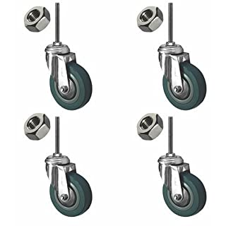 Coldene Castors Ltd - Heavy Duty Stem Castor Pack Of 4x Swivel Caster Wheels - Plus Free Stem And Nut