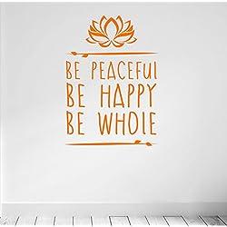 Estar Tranquilo. Ser Feliz. Estar entero. Yoga y Meditación inspirado calidad vinilo adhesivo mate. 5color y 2opciones de tamaño., naranja
