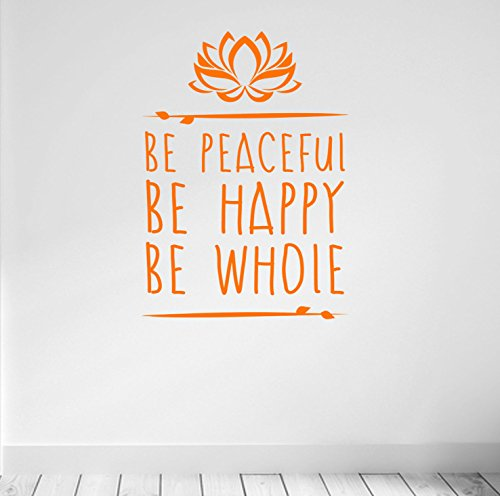 Estar Tranquilo. Ser Feliz. Estar entero. Yoga y Meditación inspirado calidad vinilo adhesivo mate. 5color y 2opciones de tamaño., naranja, 57cm wide x 80cm