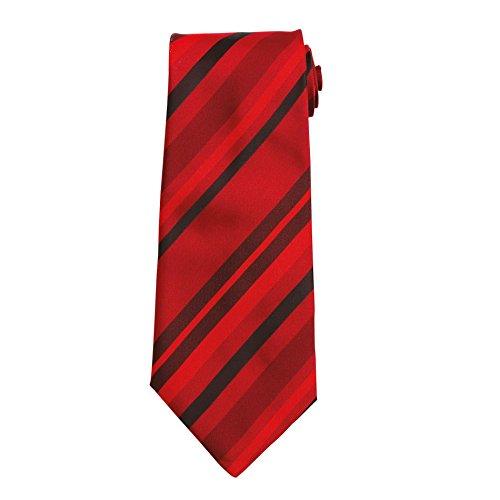 Premier Workwear Unisex Elegante Business Krawatte Multi-Stripe PR760 Red 144 x 10 cm (Multi Streifenmuster)