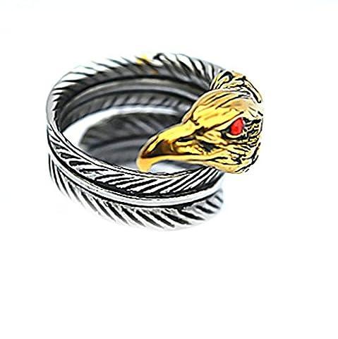 AMDXD Schmuck Herren Ring Edelstahl Rot Stein Augen Adler Kopf Feder Silber Schwarz Größe 65 (20.7)