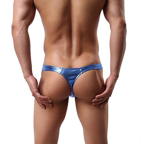 MuscleWorship Hot Herren Thong Sexy G-String Männer Thong Sexy Slip Thong Bodysuit Wrestling Blau