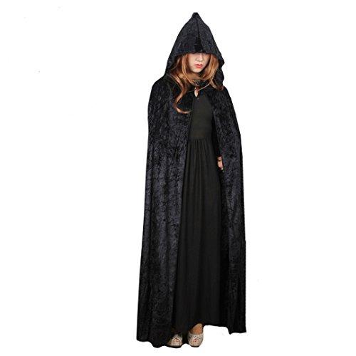 La Haute Halloween-Umhang Volle Länge Knautschsamt Kapuze Kostüm Gr. Einheitsgröße, (Cape Hooded Schwarz Erwachsene Kostüme)