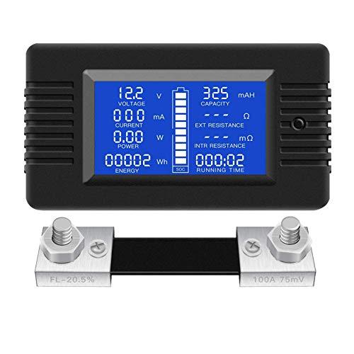 SODIAL Misuratore di Monitoraggio Della BatteriaCC Display LCDdigitaledi Energia Solare Multimetro Amperometro Voltmetro (Ampiamente Applicato un 12V/ 24V /48V RV/Batteria per Auto)