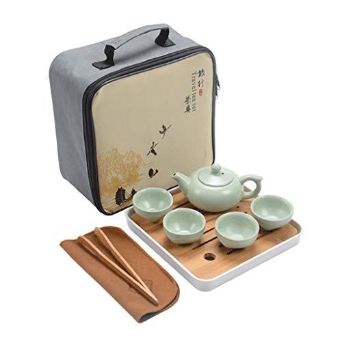 M-CH Japanische Teekannen gusseisen Teekessel Chinesisches keramisches Kung Fu Tee-Set, grünes CeramicTea Set mit hölzernem Tee-Behälter für Haushaltsbüro Kaffeekannen Teezubehör