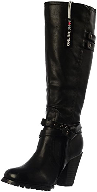 Onlineshoe señoras de las mujeres altas rodilla Botas altas del motorista con las correas y tacón - Negro, beige...