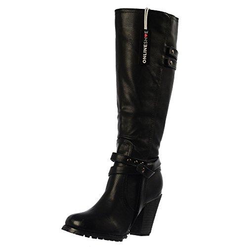 Onlineshoe Damen Knie Hoch Stiefel UK5 - Eu38 - Us7 - Au6 Schwarz (Zip-knie-boot)