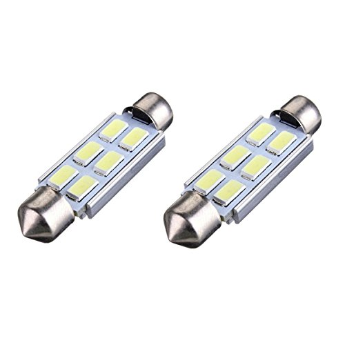 6 LED Soffitte Lampe - SODIAL(R) 2 x Weiss Canbus 42mm 5630 SMD 6 LED DC 12V Kennzeichenbeleuchtung Innenbeleuchtung Soffitte Lampe Licht (Weiße Led-soffitte)