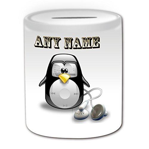 Personalisiertes Geschenk-iPod Classic Spardose (Design Pinguin in Kostüm Thema, weiß)-alle Nachricht/Name auf Ihre einzigartige-Apple Musik (Weiße Apple Kostüm)