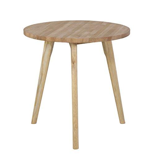 Homestyle4u 1815 Beistelltisch Rund Ø 45cm Couchtisch in Braun Holztisch aus Kiefer Nachttisch Wohnzimmertisch Durchmesser: 45 cm Höhe: 45 cm Dreibeiner Telefontisch Sofatisch Tisch Kiefer Holz