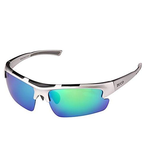 Duco polarizzata progettista modo mette gli occhiali da sole per baseball ciclismo pesca golf tr90 superlight telaio 6200 (argento-blu)