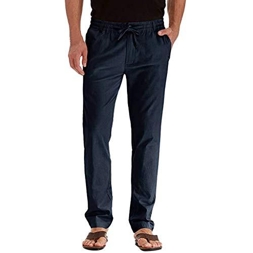 CAOQAO Pantaloncini da Uomo Pantaloncini Jeans/da Uomo Casual Moda Casual Tinta Unita Lino Sfuso Confortevole Traspirante Cintura da Cintura Pantaloni Dritti/Marina/M-3XL