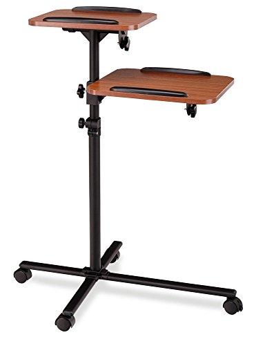 Pronomic PT-6 MKII Beamer- und Projektorwagen Beamertisch Rollwagen Medienwagen für Video-, Dia-, Overhead-Projektoren, Laptoptisch, Notebooktisch (höhenverstellbar, Ablageflächen, neigbar) Holzoptik - Beamer Stand-wagen
