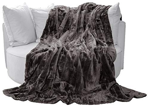 Auro Hochwertige Kuscheldecke-Felldecke für Wohn- und Schlafräume, 200x150 cm, Grau