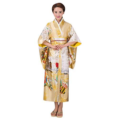 Kostüm Traditionelle Kimono - HHyyq Frauen Kirschblüten Anime Cosplay Lolita Kleid Japanischen Kimono Kostüm Kleider Kleidung Kimono Robe traditionelle japanische Kleidung Fotografie Cosplay Kostüm(Gelb,)
