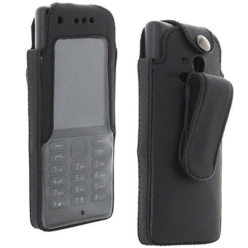 XiRRiX Echt Leder Hülle Tasche mit arretierbarem Gürtelclip für Nokia 150/216 Handy - Handytasche Schwarz
