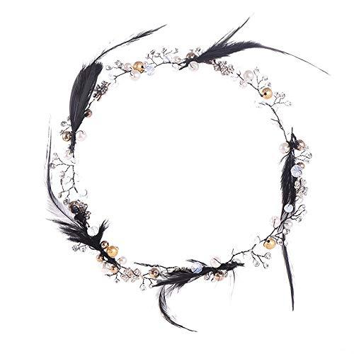 Ppzmd Headwear Mädchen-Kronen-Stirnband-Schwarz-Feder-Kristallkreative Blumen-Girlande natürlich für Hochzeitsbankett-Partei headwears (Color : Black) (Kranz Schwarze Feder)