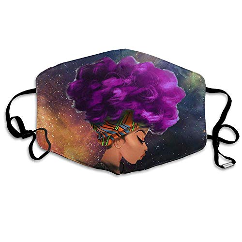 Outdoor Reusable Half Face Anti-dust Mouth Mask with Design, Face Masks Anti-Dust Mouth Cover Customized Universe African Women Purple Hair Washable and Reusable Mask Warm Windproof Boys Girls Kids