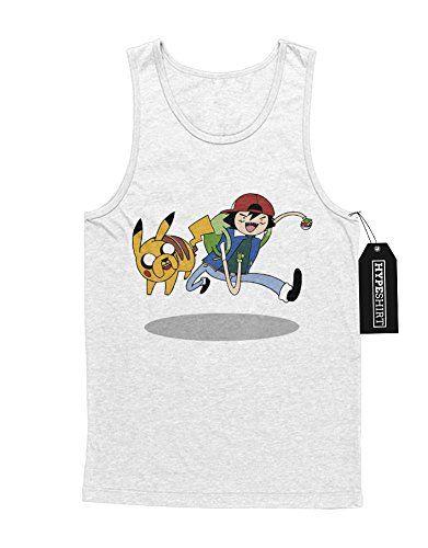 Tank-Top Pokemon Go Adventure TIme Mashup Finn and Jake Hype Kanto X Y Nintendo Blue Red Yellow Plus Hype Nerd Game C980106 Weiß (Herren Finn Time Adventure Kostüm)