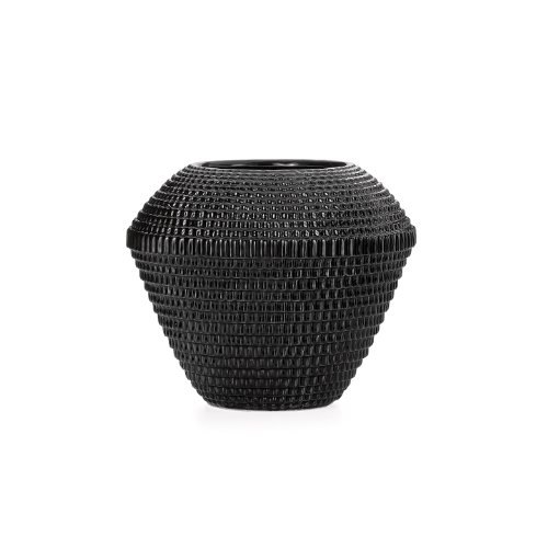 Torre & Tagus 901637B Maya Ceramic Tapered Vase, Black