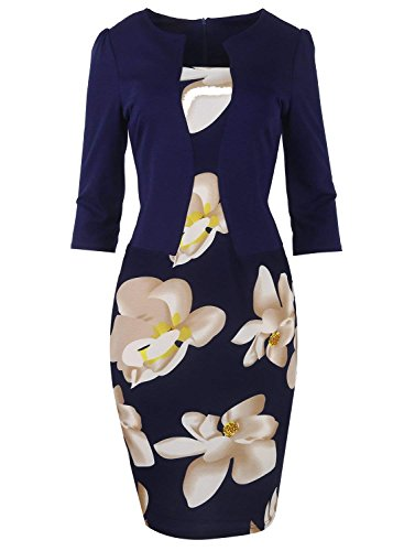 MisShow Damen 3/4 Arm Etui Kleid 2 in 1 Cocktailkleid 1950er Jahre Business Stretch Kleid Navyblau Gr.3XL -