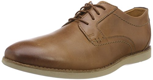 Clarks Raharto Plain, Scarpe Stringate Derby Uomo Marrone (Dark Tan Leather)