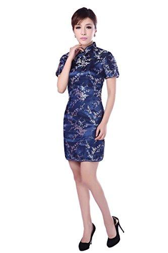 ACVIP Donna Broccato Disegno Fiore Plum Cheongsam a Maniche Corte Qipao Cinese Blu scuro