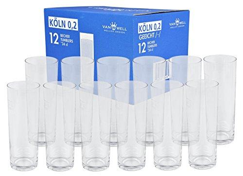 12 Kölner Stangen Kölsch Kölschgläser Köln Bier Brauerei Glas Gläser 0,2 Geeicht