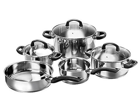 Karcher Topfset Mia aus Edelstahl, Kochgeschirr Induktion-Kochtopf-Set, Töpfe mit Glasdeckel / Pfanne / Stielkasserolle,