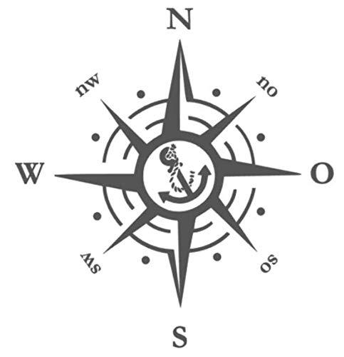 Generic Kompass Polarstern Aufkleber 30x30cm Windrose Aufkleber für Caravan Wohnmobil Wohnwagen Auto oder als Wand Tattoo (138/1) (30cm, Weiß Glanz)